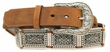 Nocona Western Womens Belt Leather Square Conchos Linked Brown  N3411344