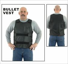 Mens Pull-Over Bullet Proof Replica Leather Vest Size S-3XL New Great Deal