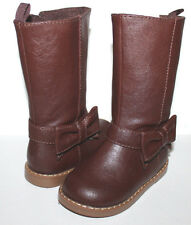 baby Gap NWT Girl 6 7 8 9 10 Brown Bow Trim Boots Faux Leather Riding Boots