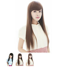 Women's Long Straight Wigs Slanting Bangs Style Natural Wig Heat Resistant