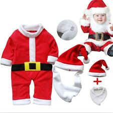 0-24M Christmas Kids Baby Boy Girls Infant Outfits Jumpsuit Romper 3pcs with cap