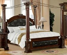 Luxurious Baroque Poster Canopy Brown Cherry Padded Leatherette Queen King Bed