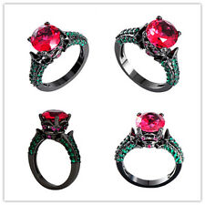 Size6-10 Girl's  Pink CZ Jewelry 10Kt Black Gold Filled Engagement Ruby Ring