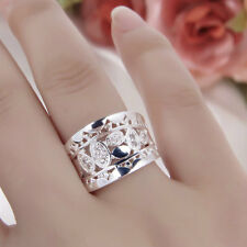 Women New Fashion Natural Crystal 925 Solid Sterling Silver Ring Size 7 8 AL