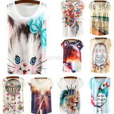 Fashion Womens Printed Short Sleeve Loose Casual T-shirt Casual Tops Blouse