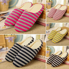 Unisex Striped Slippers Soft Comfy Winter Warm Home Cotton Sandal Indoor Shoes