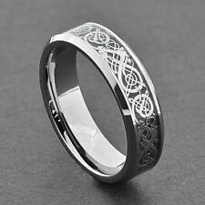 6mm Tungsten Silver Color Dragon Celtic Scroll Inlay Unisex Wedding Band