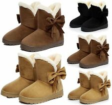 New Womens Faux Suede Fur Lined Winter Warm Snow Boots Bowknot Ankle Flats Shoes