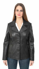 Womens Black Blazer Soft Leather Jacket Classic Buttoned Hip Length Casual COAT