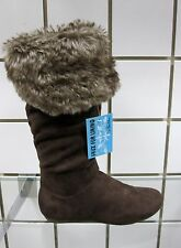 NEW BROWN 3-N-1 STYLISH SLOUCHY KNEE-HIGH STYLISH CASUAL FAUX SUEDE/FUR BOOT