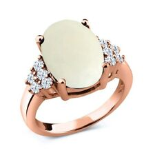 4.90 Ct Simulated Opal White Created Sapphire 18K Rose Gold Plated Silver Ring