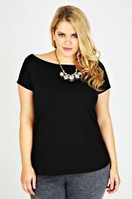 Plus Size Black Plain Jersey Bardot Top With Short Sleeves