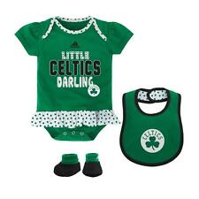 Boston Celtics Baby Girl 3-Piece Ruffled Bodysuit Bib & Booties Creeper Set