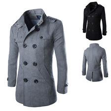 Mens Slim Double Breasted Trench Warm Coat Jackets Long Lapel Outerwear Peacoat