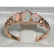 Womens Solid 9K Rose Gold Natural Fiery Opal Victorian Style Trilogy Ring