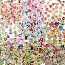 100x 15mm Mixed Color Round Wood Buttons for Sewing Scrapbooking DIY Crafts