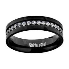 Solid Stainless Steel Black 1 Carat Total Cubic Zirconia Eternity Band Ring
