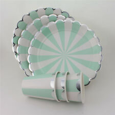24Set Mint Striped&Silver Paper Plates and Cups Birthday Party Tableware Decor