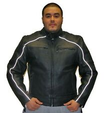 Mens Motorcycle Biker Black Leather Jacket With Racer Collar New Size S-4XL