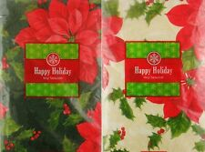 Poinsettias and Holly Paisley Damask Vinyl Flannel Back Tablecloth Various Sizes