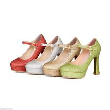 Stylish Women's Mary Janes Wedding Shoes High Heels Strap Platform Pumps Size25.