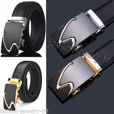 Genuine Leather Men's Gold/Silver Automatic Buckle Belts Waist Strap Waistband