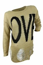 Romeo & Juliet Couture $130 NWT Beige Black Intarsia Knit Ripped Sweater Women