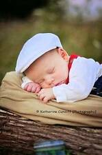 Born to Love Baby Boy (3 Szs) White Newsboy Cap- Choose Suspenders and A Bow Tie