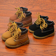 Trendy Kids Boys Martin Boots Short Boots Lace Casual Infant Shoes US5.5-14.5