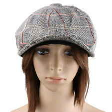 Vintage Mens Womens Baker Boy Hat Newsboy Gatsby Tweed Flat Beret Cabbie Cap
