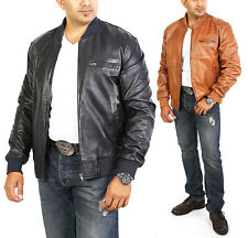 Mens Classic Fitted BOMBER Leather Jacket NEW Sports Harrington NAVY TAN Coat