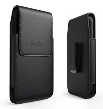Black Leather Vertical Holster with Belt Clip Loops Phone Pouch Case for LG V20