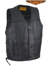 Mens Genuine Cowhide Leather Vest with Gun Pockets & Side Laces