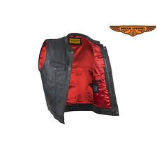 Mens Motorcycle Cowhide Leather Club Vest With Red Liner And Gun Pockets