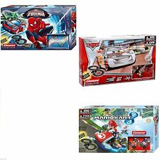 NEW Super Mario Disney Cars Spiderman  New Slot Racing Set by Carrera Gift Set