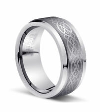 8MM Men's Silver Celtic Knot Tungsten Carbide Wedding Band Ring