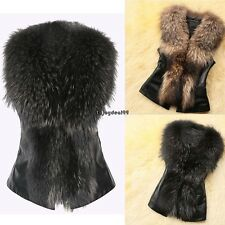 Fashion Women Faux Fur Patchwork Synthetic Leather Jacket Vest Coat Cardigan OO5
