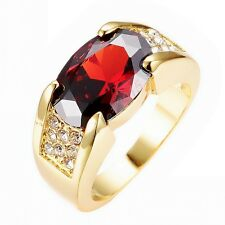 Red Ruby Big Stone Engagment Ring 10KT Yellow Gold Filled Wedding Band Size 6-12
