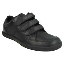 FRONTSIDE SPIN MENS CLARKS TRIPLE RIPTAPE LEATHER SMART CASUAL SCHOOL WORK SHOES