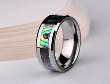 Tungsten Carbide Abalone Shell Inlay black Mens Women Tungsten steel Band Ring