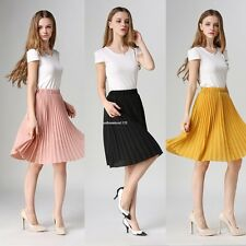 Fashion Pleated Skirt Women Ladies Casual Chiffon Elastic Waist Solid Mini Skirt