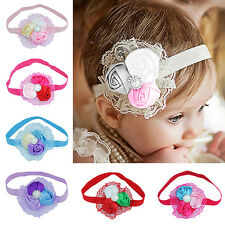 Baby Toddler Infant Rose Flower Faux Pearl Princess Lace Elastic Headband Nimble