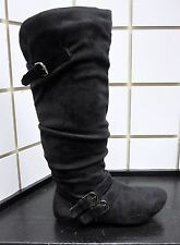 NEW WOMEN STYLISH SLOUCH DRESS CASUAL KNEE HIGH FASHION BOOT W/BUCKLE ACCENT