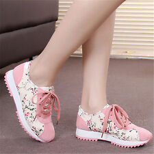 New Womens Korean Flat Lace Up Floral Running Sports Sneakers Athletic Shoes Sz