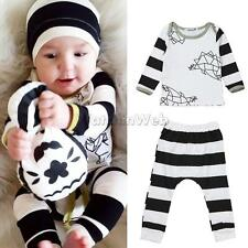 2pcs Newborn Toddler Infant Baby Boy Girl Clothes T-shirt Tops+Pants Outfit Sets