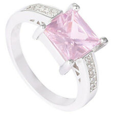 1Pc Silver Plated Pink Square Cubic Zirconia CZ Shiny Finger Ring Nimble