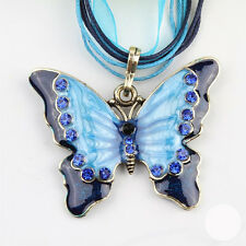 Fashion Long Heavy Rhinestone Butterfly Pendent Necklace Sweater Chain 6 Colors