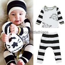 2pcs Newborn Infant Long Sleeve Baby Boy Clothes T-shirt Tops+Pants Outfits Set