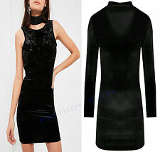 Womens Ladie Chocker Neck Velvet Velour Key Hole Tunic Mini Bodycon Party Dress