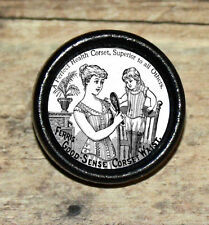 Victorian fashion CORSET Ad for GIRL Altered Art Tie Tack or Ring or Brooch pin
